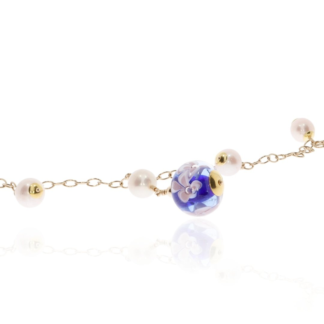 Cultured Pearl and Blue Floral Murano Glass Necklace By Heidi Kjeldsen Jewellery NL1308 Close up