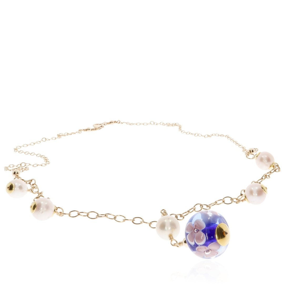 Cultured Pearl and Blue Floral Murano Glass Necklace By Heidi Kjeldsen Jewellery NL1308 flat