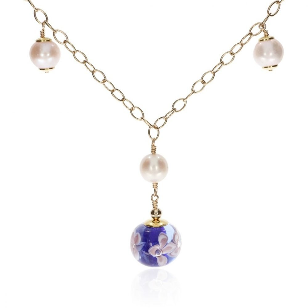 Cultured Pearl and Blue Floral Murano Glass Necklace By Heidi Kjeldsen Jewellery NL1308 front