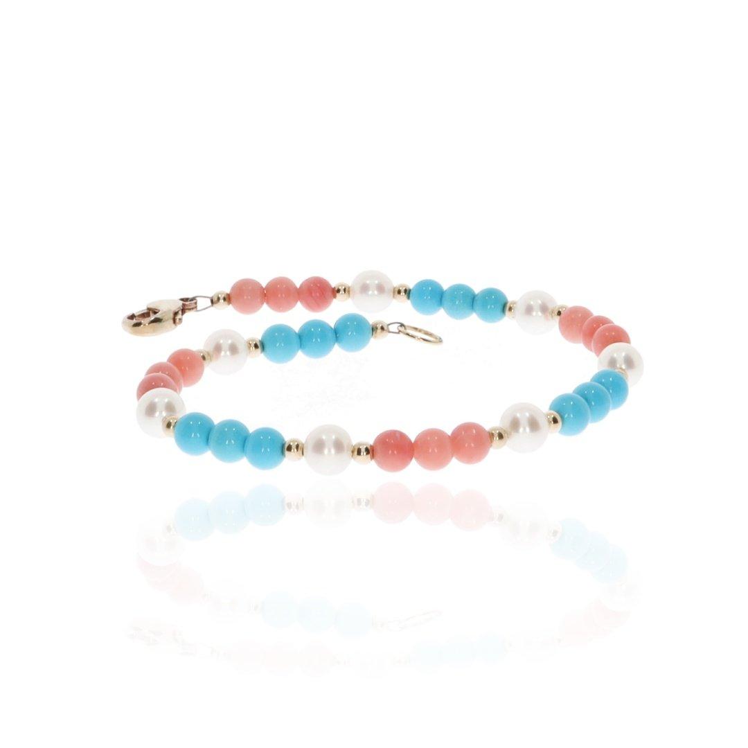 Pink Turquoise and Pearl bracelet By Heidi Kjeldsen Jewellery BL1354 flat
