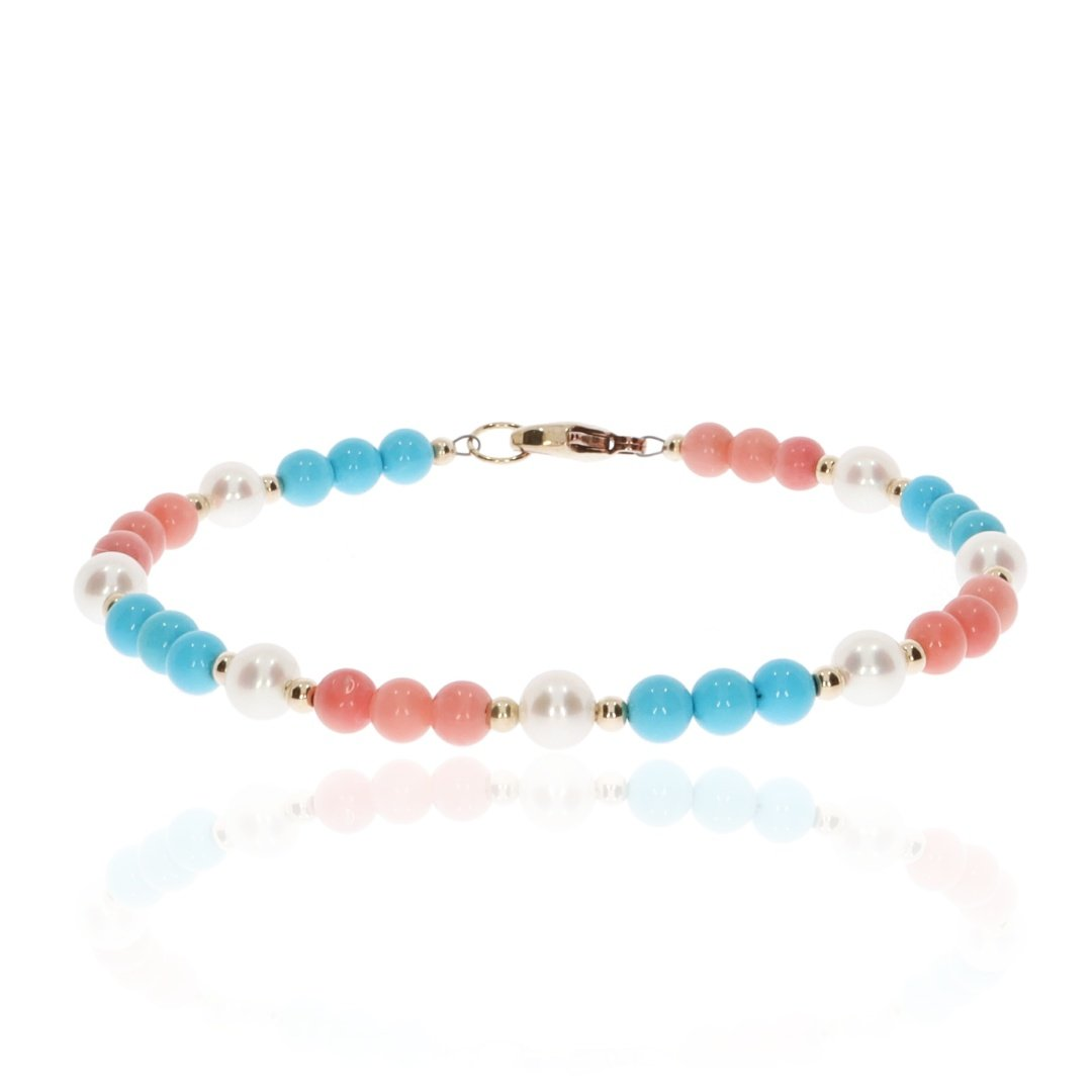 Pink Turquoise and Pearl bracelet By Heidi Kjeldsen Jewellery BL1354 front