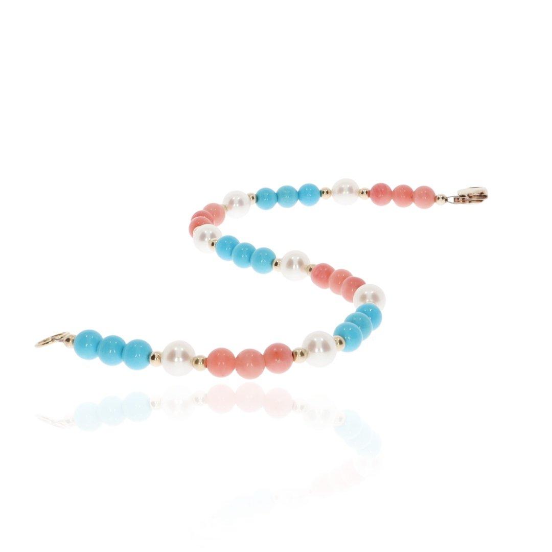 Pink Turquoise and Pearl bracelet By Heidi Kjeldsen Jewellery BL1354 long