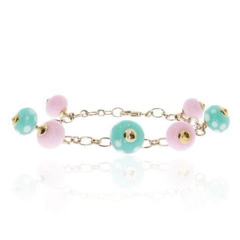 Pink and Green Murano Glass Bracelet By Heidi Kjeldsen Jewellery BL1363 circle