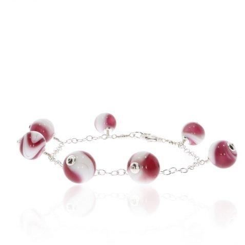 A handmade pink and white swirl Murano glass and sterling Silver bracelet by Heidi Kjeldsen Jewellery Circle BL1395