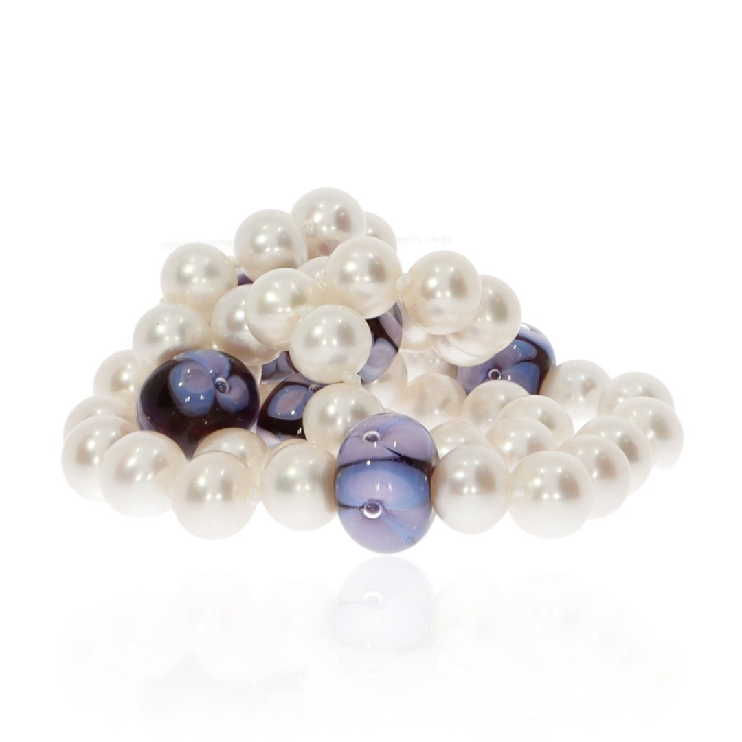 Purple Floral Murano Glass and Pearl Necklace By Heidi Kjeldsen Jewellery NL1310 Bundle