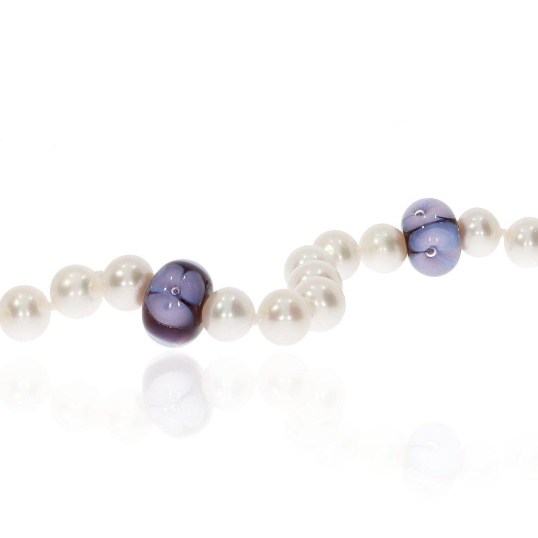Purple Floral Murano Glass and Pearl Necklace By Heidi Kjeldsen Jewellery NL1310 Close