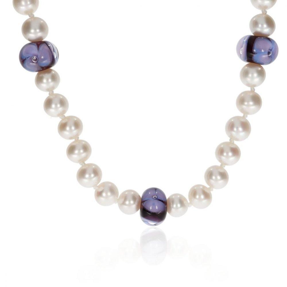 Purple Floral Murano Glass and Pearl Necklace By Heidi Kjeldsen Jewellery NL1310 Front