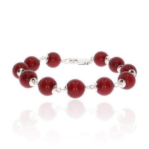 Red Agate and Silver Bracelet By Heidi Kjeldsen Jewellery BL1357 Front