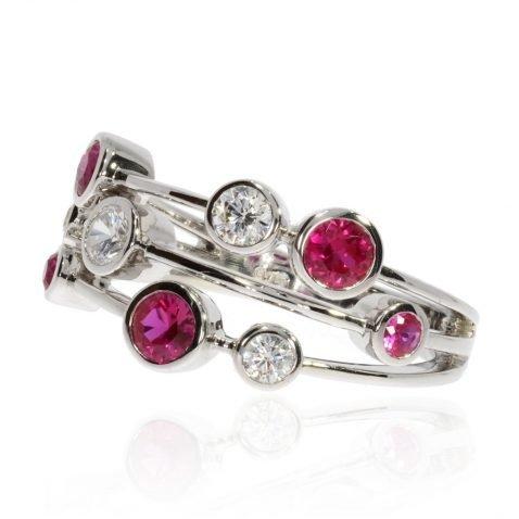 Ruby and Diamond Bubble ring By Heidi Kjeldsen Jewellery R1650 Side