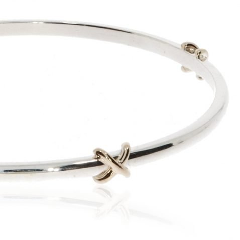 Silver and Gold Kiss Bangle By Heidi Kjeldsen Jewellery BL1396 Close Up
