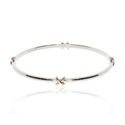 Silver and Gold Kiss Bangle By Heidi Kjeldsen Jewellery BL1396 Flat