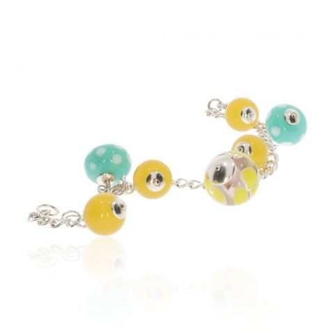 Yellow and Green Murano Glass Bracelet By Heidi Kjeldsen Jewellery BL1364 long