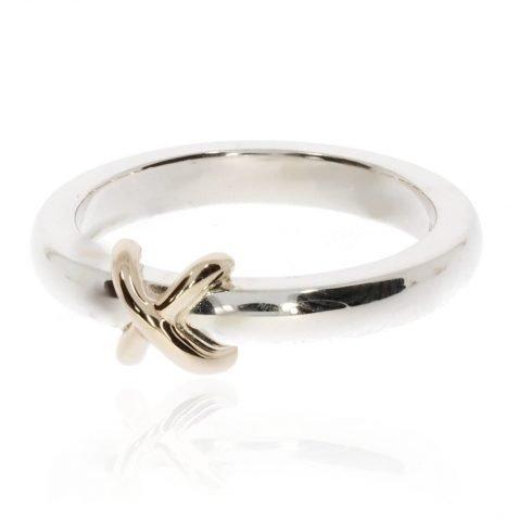Silver and 9ct Yellow Gold Kiss Ring By Heidi Kjeldsen Jewellery R1677 Side