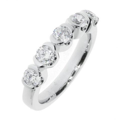 Diamond demi-rub-over eternity ring by Heidi Kjeldsen Jewellery R1343 Vertical