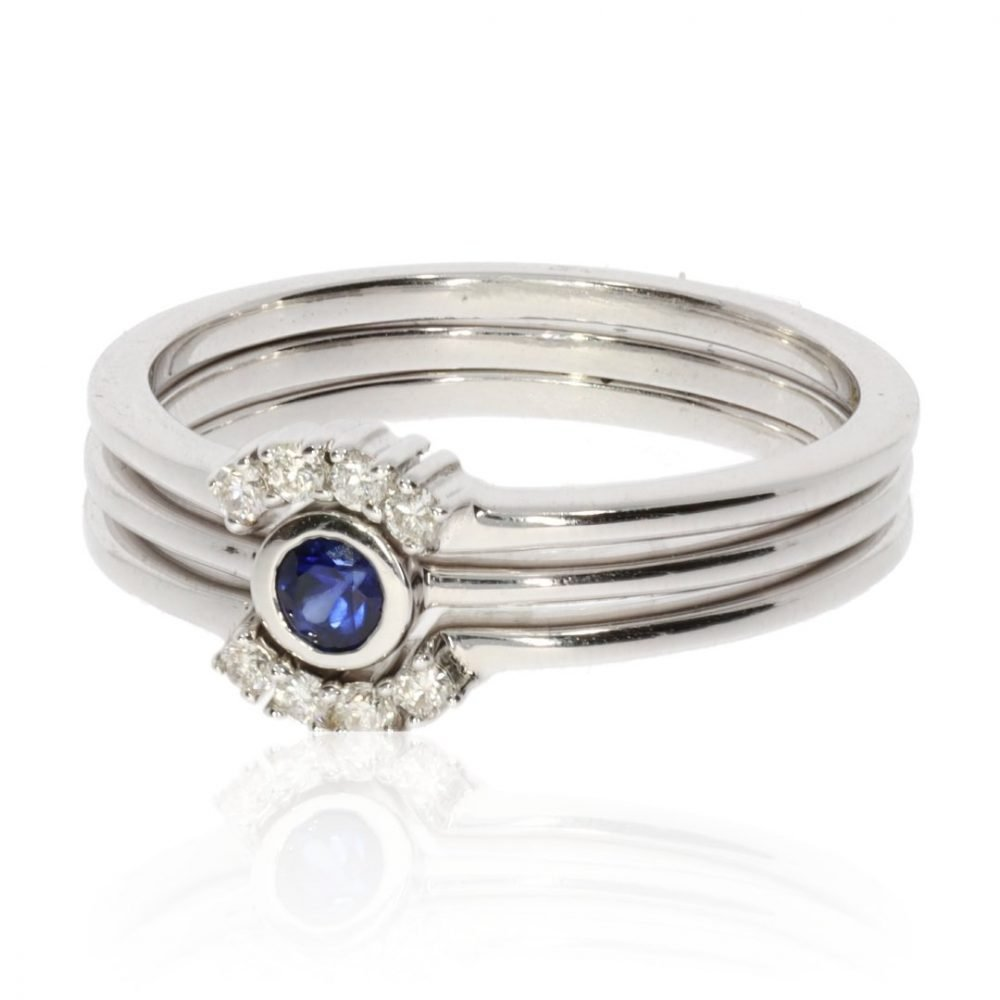 Sapphire and Diamond Triple Stacking Ring Set R1499 Side