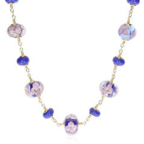 Blue Floral Murano glass Necklace by Heidi Kjeldsen Jewellery NL1319 front
