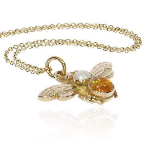 Citrine, Cultured Pearl Gold Bee Pendant By Heidi Kjeldsen P1475 Flat