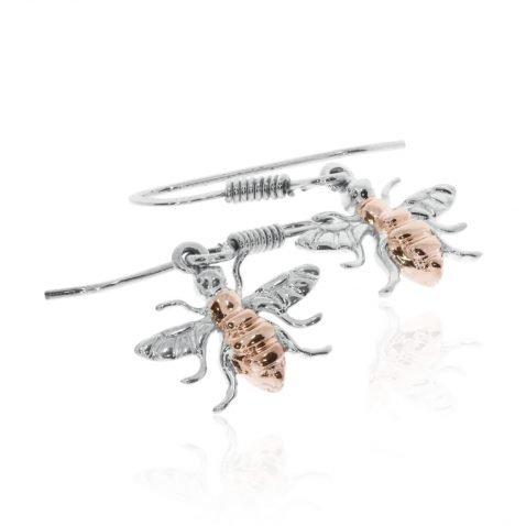 Rose Gold Sterling Silver Bee Drop Earrings By Heidi Kjeldsen Jewellery ER2507 Flat