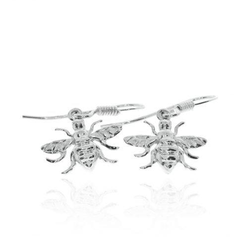 Sterling Silver Drop Bee Earrings By Heidi Kjeldsen Jewellery ER2506 Flat