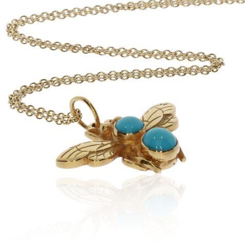 Turquoise and Gold Bee pendant By Heidi Kjeldsen Jewellery P1477 Flat