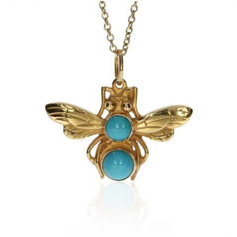 Turquoise and Gold Bee pendant By Heidi Kjeldsen Jewellery P1477 Face