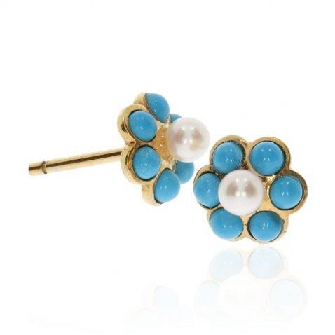 Turquoise and Cultured Pearl Cluster Earrings By Heidi Kjeldsen Jewellery ER2571 side