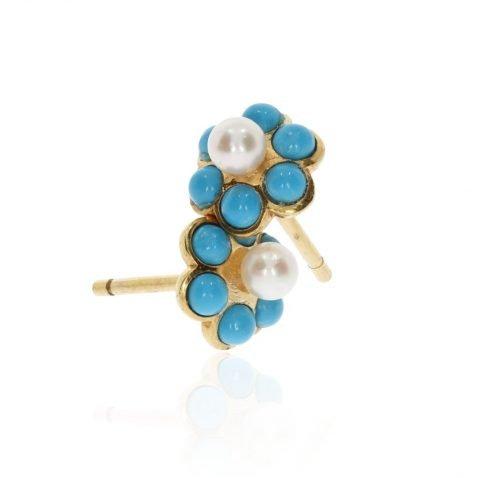 Turquoise and Cultured Pearl Cluster Earrings By Heidi Kjeldsen Jewellery ER2571 vertical
