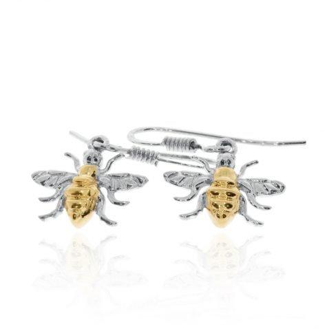 Gold Plated Sterling Silver Drop Bee Earrings By Heidi Kjeldsen Jewellery ER2508 flat