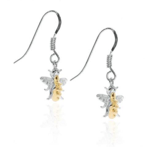 Gold Plated Sterling Silver Drop Bee Earrings By Heidi Kjeldsen Jewellery ER2508 side