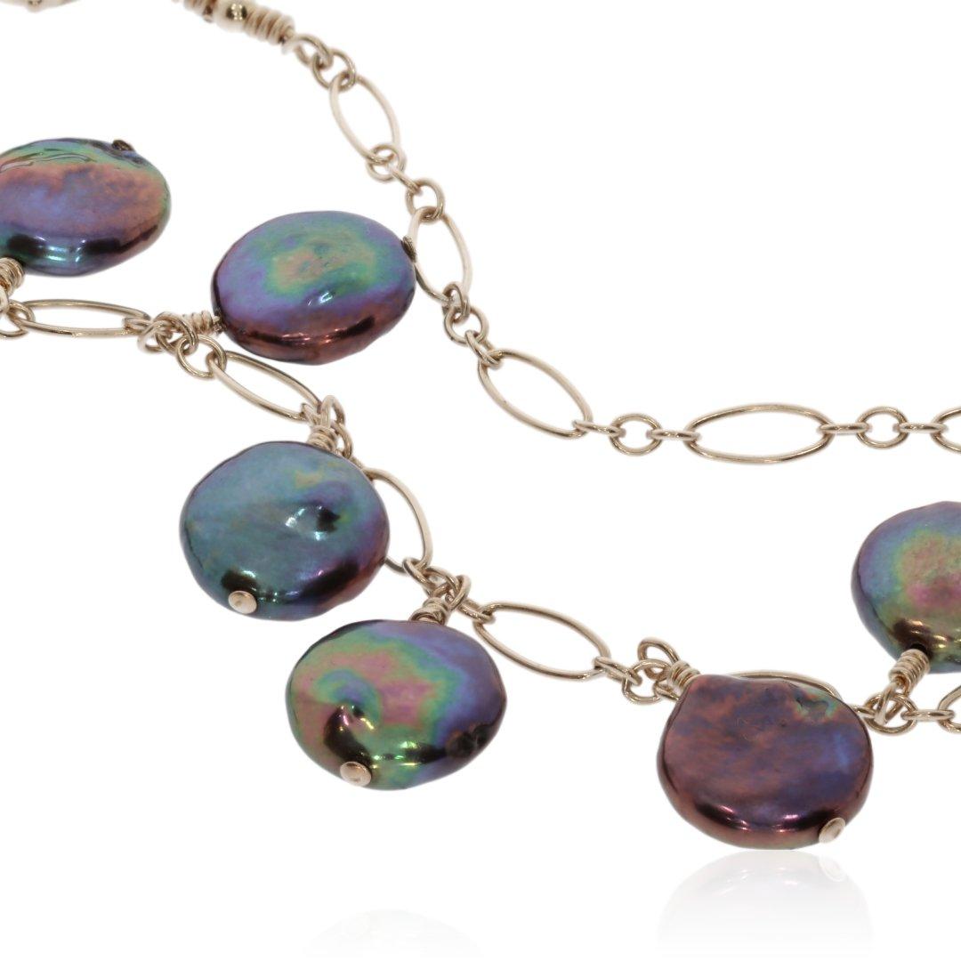 Black Coin Pearl Necklace By Heidi Kjeldsen Jewellery NL1323 Close Up