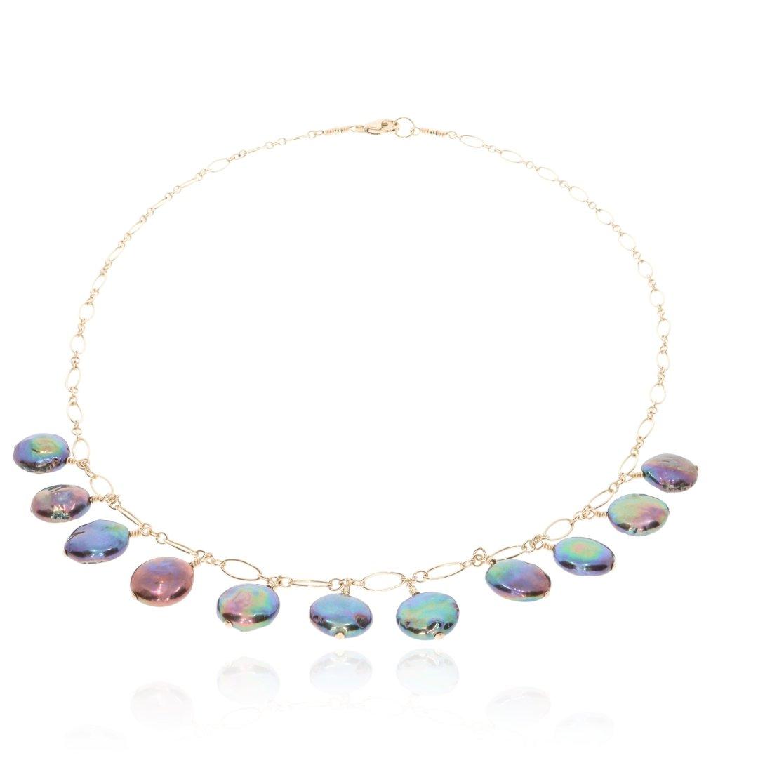 Black Coin Pearl Necklace By Heidi Kjeldsen Jewellery NL1323 Flat