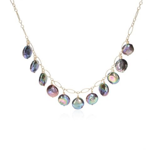 Black Coin Pearl Necklace By Heidi Kjeldsen Jewellery NL1323 Front
