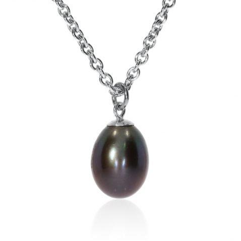 Black Drop Pearl Pendant By Heidi Kjeldsen Jewellery P848 Front