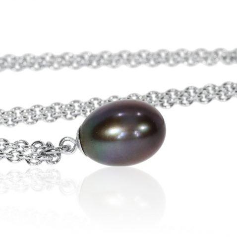 Black Drop Pearl Pendant By Heidi Kjeldsen Jewellery P848 Side