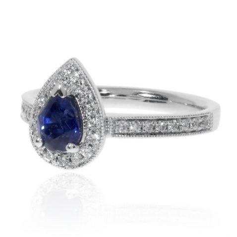Pear Shaped Sapphire and Diamond Platinum Ring By Heidi Kjeldsen Jewellers R1681 Side