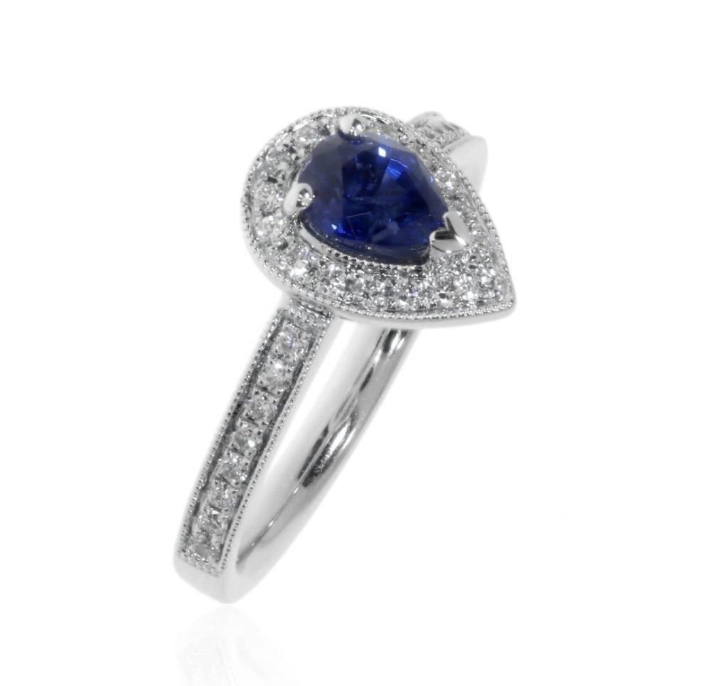 Pear Shaped Sapphire and Diamond Platinum Ring By Heidi Kjeldsen Jewellers R1681 Standing