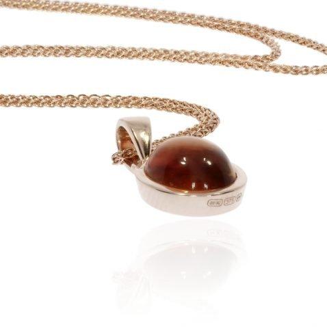 Citrine Oval cabochon 9ct Rose Gold Pendant Heidi Kjeldsen Jewellers P1371 Side