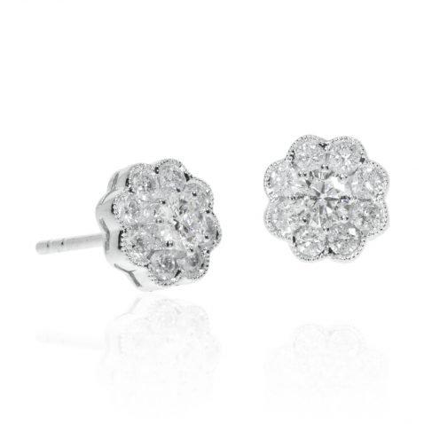 Diamond Daisy Cluster Earrings By Heidi Kjeldsen Jewellery ER4769 Flat