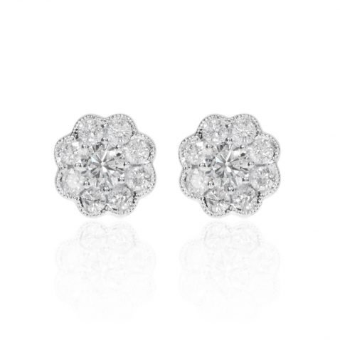 Diamond Daisy Cluster Earrings By Heidi Kjeldsen Jewellery ER4769 Front