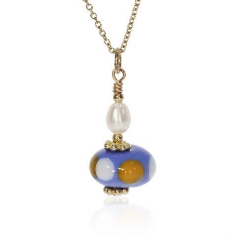 Murano Glass Blue, Orange and Pearl Pendant By Heidi Kjeldsen Front
