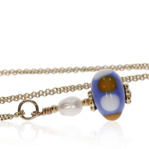 Murano Glass Blue, Orange and Pearl Pendant By Heidi Kjeldsen Side