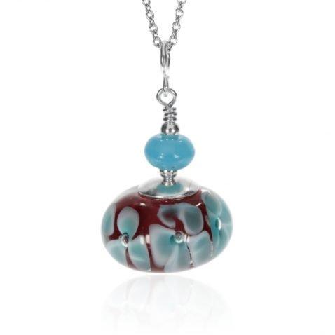 Murano Glass Red and Blue Pendant By Heidi Kjeldsen Jewellery P1380 Front