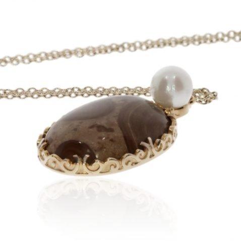 Ocean Jasper Cultured Pearl and Gold Pendant by Heidi Kjeldsen Jewellers P1291 Side