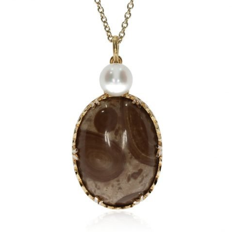 Ocean Jasper Cultured Pearl and Gold Pendant by Heidi Kjeldsen Jewellers P1291 Front