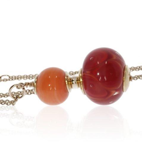 Gorgeous Orange and Red Murano Glass Pendant By Heidi Kjeldsen Jewellery P1413 side