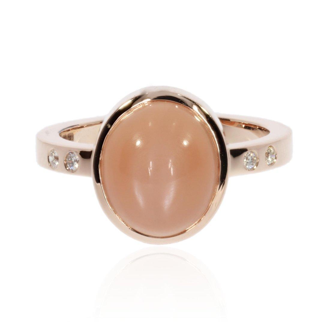 Peach Moonstone Ring By Heidi Kjeldsen Jewellers R1683 Front