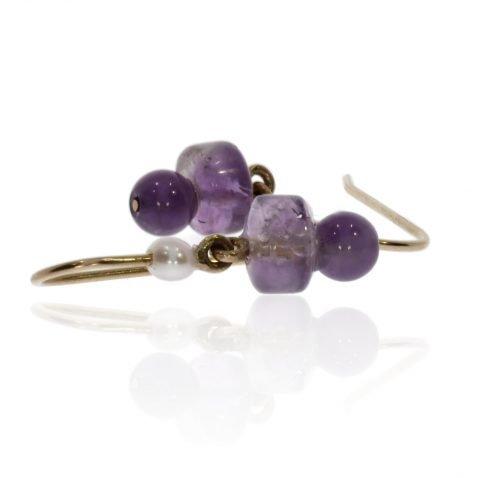 Amethyst and Cultured Pearl Earrings Heidi Kjeldsen Jewellers ER2575 Side