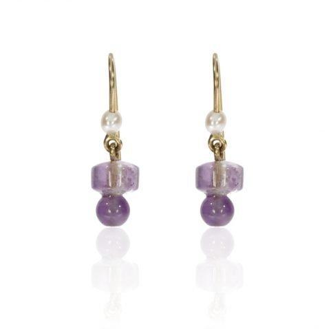 Amethyst and Cultured Pearl Earrings Heidi Kjeldsen Jewellers ER2575 Front