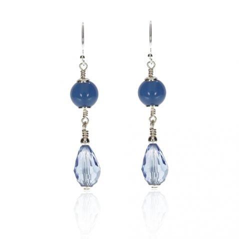 Blue Agate and Glass Earrings By Heidi Kjeldsen Jewellery ER2578 Front