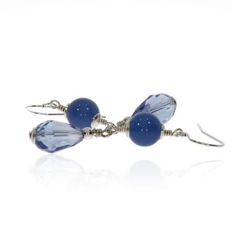 Blue Agate and Glass Earrings By Heidi Kjeldsen Jewellery ER2578 Side